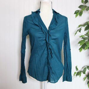 Express Button Up Blouse Ruffled Front Collared